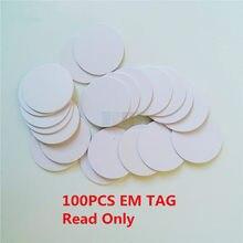100 pçs/lote 125khz em4100 tk4100 rfid moeda tag cartão só ler cartão de controle acesso diâmetro 25mm