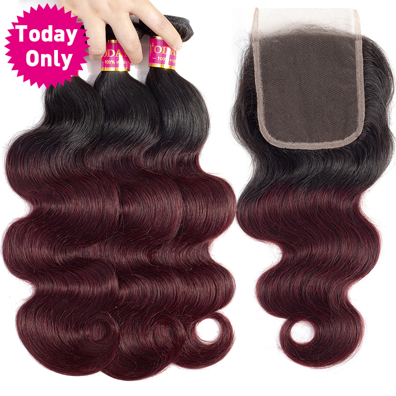 [TODAY ONLY] Peruvian Body Wave Bundles With Closure Burgundy 3 Bundles With Closure Remy Ombre Human Hair Bundles With Closure