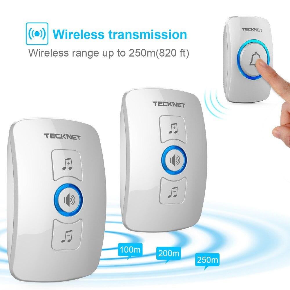TeckNet Wireless Doorbell Cordless IP33 Waterproof EU Plug Door Bell with 32 Melodies Chime Tunes Smart Home 250m Range 100-240V