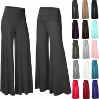 Женские Большие размеры, высокая талия, широкие брюки макси, длинные штаны, однотонные офисные женские свободные эластичные плиссированные...