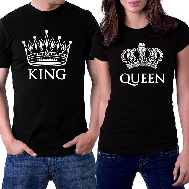 a2f524756 Buy T Shirts Online Crew Neck Short Sleeve Office King And Queen Black  Couple White Crowns Tee For Men