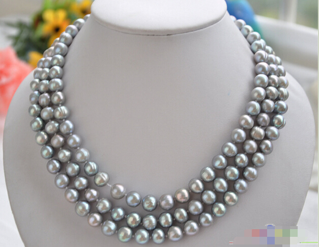 FREE SHIPPING>>>@@ > P4054 3row 19 10mm GRAY ROUND FRESHWATER PEARL NECKLACE^^^@^Noble style Natural Fine jewe &FREE SHIPPING>>>@@ > P4054 3row 19 10mm GRAY ROUND FRESHWATER PEARL NECKLACE^^^@^Noble style Natural Fine jewe &