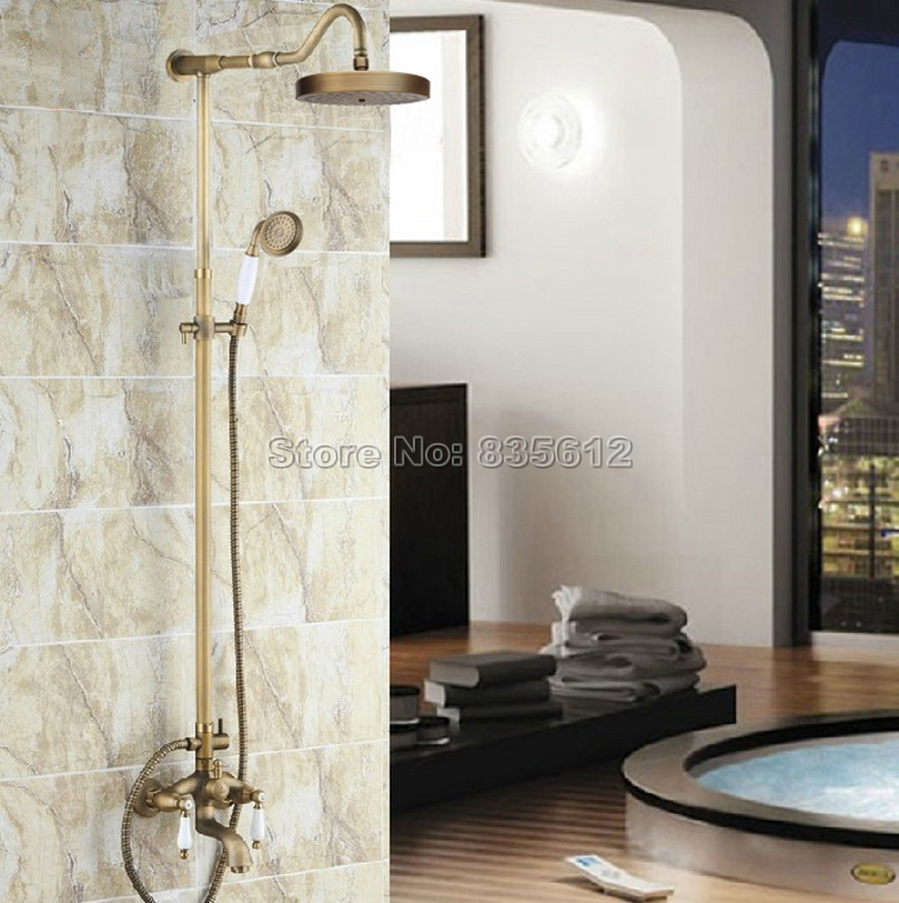 Antique Brass Wall Mounted Classic Dual Handles Rain Shower Faucet Set W/ Ceramic Hand Spray /Bathroom Bathtub Mixer Taps Wrs248
