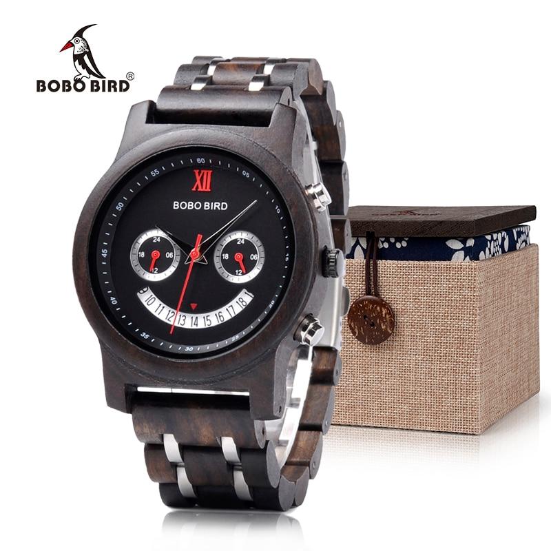 BOBO BIRD Newest Smile Face Design Lovers' Natural Wood Watches Chronograph Date Quartz Wristwatch Luxury Versatile Timepieces smile design
