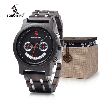 BOBO BIRD Newest Smile Face Design Wood Men Women Watches Chronograph Date Quartz Wristwatch Luxury Versatile Timepieces Women Quartz Watches