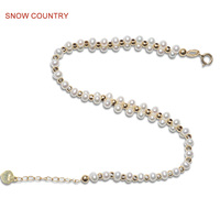 SNOW COUNTRY 3 3.5 mm Genuine Small White Natural Freshwater Pearl Handmade Bracelet 18K Solid Gold For girl Gift Free Shipping