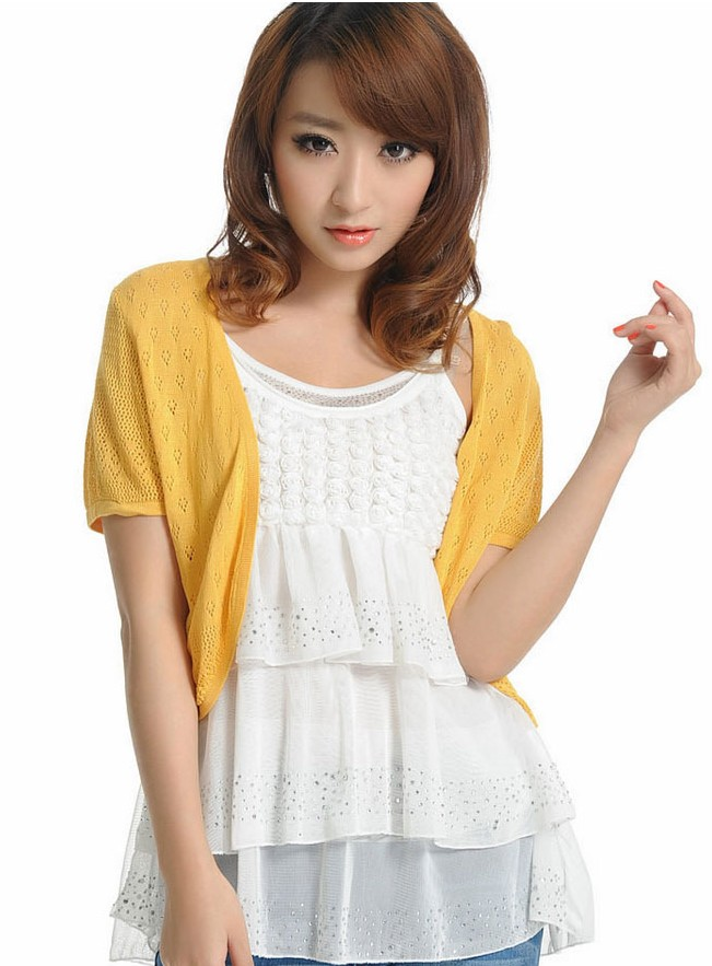 12 Colors Summer Women V Neck Knitted Casual Loose Short Sleeve