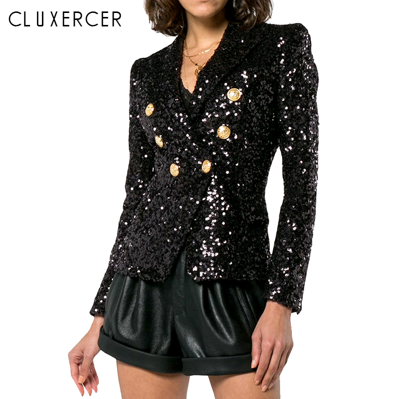 High Quality Black Long Sleeve Blazer Women 2019 New Elegant Sequin Double Breasted Blazer Spring Autumn Ladies Clothes