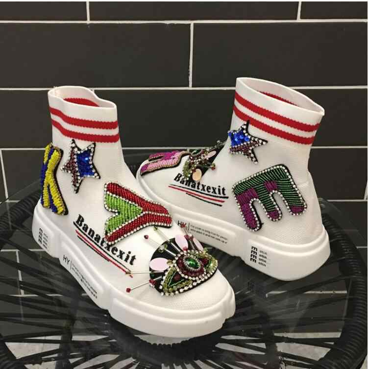 2019 new heavy work rhinestones letters street beat tide shoes women