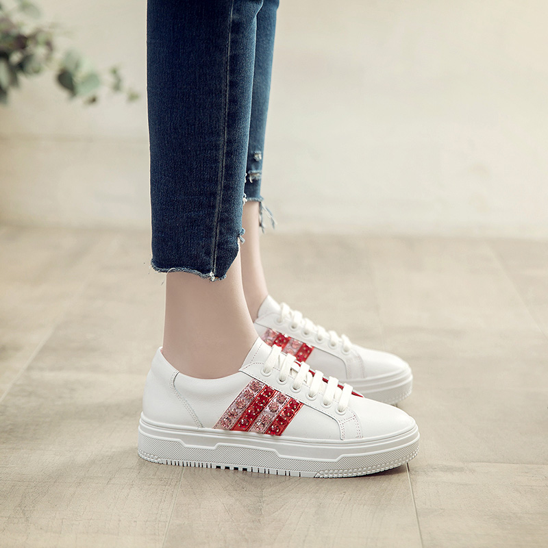 Jookrrix 2018 Spring Fashion Brand Lady Casual White Shoes Women Sneaker Leisure Platform Shoes Genuine Leather Flats Cross-tied