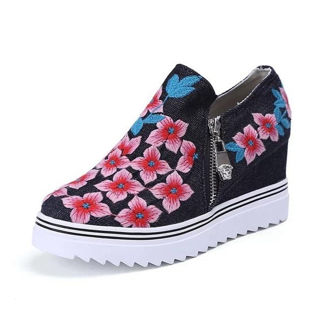 Zapatos 2017 Zapatos de Lona de La Manera Ocasional de las mujeres Zapatos de Plataforma de Cuña Zapatos de Las Mujeres Aumento de la Altura Zapatillas Deportivas Mujer