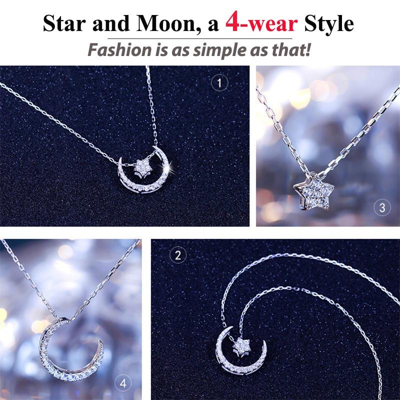 ORSA JEWELLS 925 Sterling Gümüşü Ay Ulduz Asqılı Boyunbağı - Gözəl zərgərlik - Fotoqrafiya 3