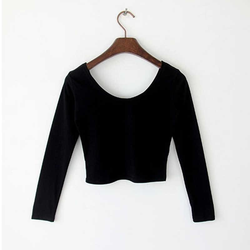 Nowe gorące kobiety strój do jogi długim rękawem Crop topy wokół szyi wysokiej talii T-shirt Slim Fit topy YAA99