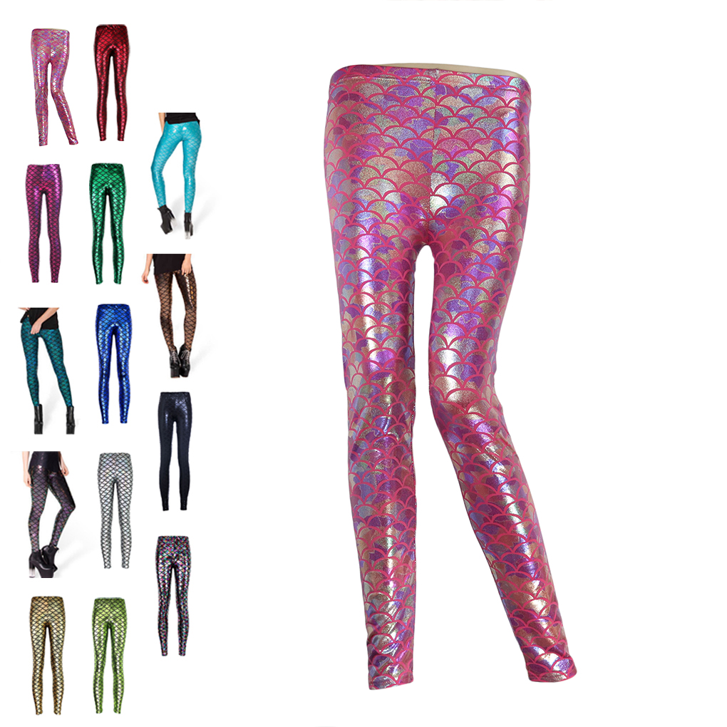 Women Fish scale printing stretch thin shiny mermaid printing   Leggings   pants