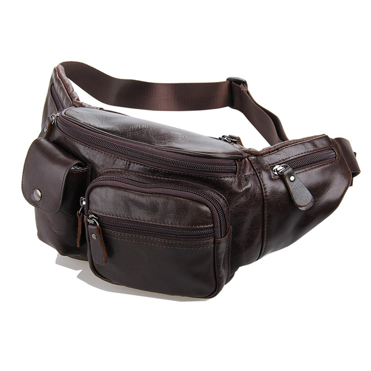 ФОТО Excellent Men Retro Genuine Leather Waist Packs Cowhide Travel Fanny Pack with Phone Coin Purse Shoulder Bags Messenger Bag 7210