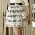 2015 Autumn and winter new South Korean hollow waist skirts, crochet embroidery thin bottoming package hip skirt AST12