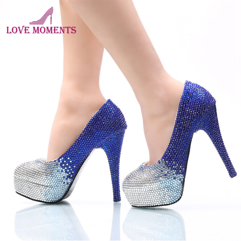 Us 61 49 18 Off Blue With Silver Rhinestone Bride Shoes 2018 Newest Style Prom Party High Heel Shoes Wedding Party Pumps Banquet Shoes Size 10 In