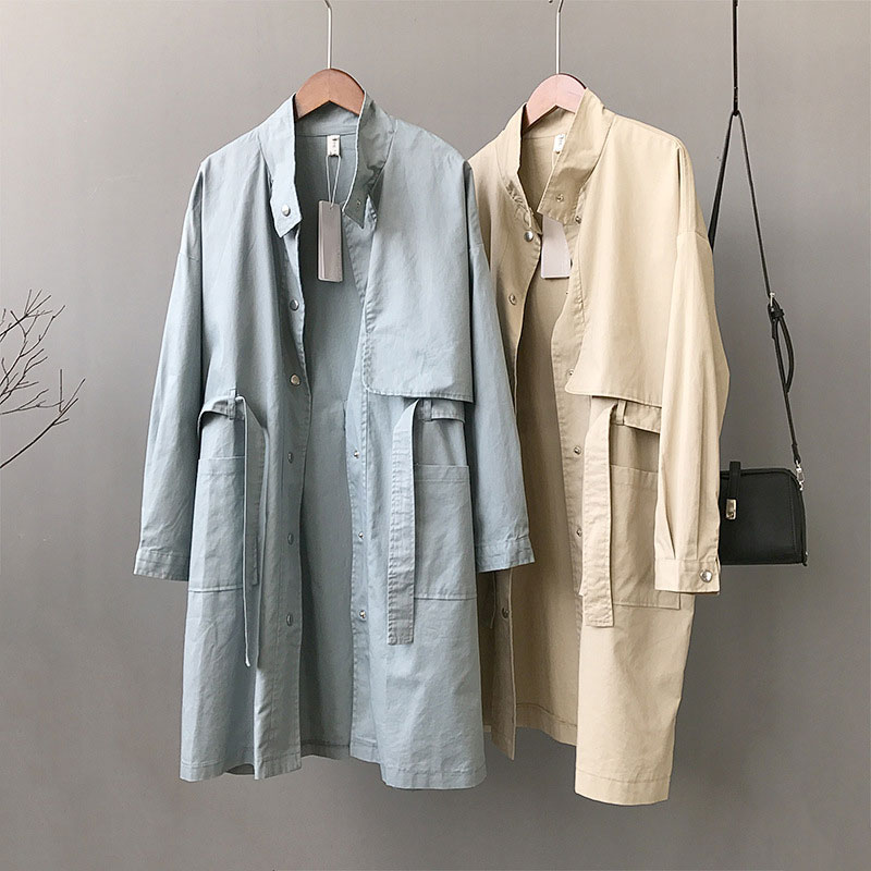 Loose Khaki   Trench   Coat Women 2018 Autumn Korean Long Sleeve Stand Collar Overcoat BF Windbreaker Belted T WWF912