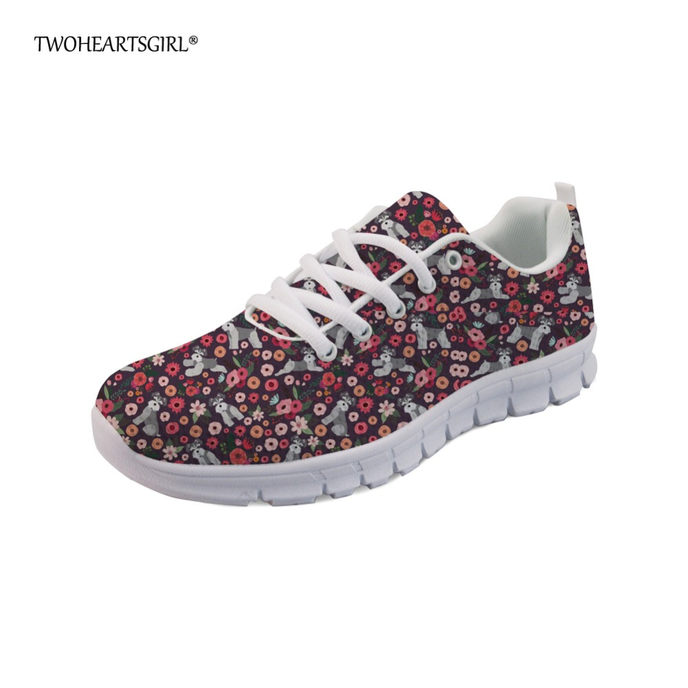 Twoheartsgirl Cute Animal Schnauzer Pattern Sneakers Women Casual Flats Lace Up Lightweight Mesh Flat Shoes for Woman Plus Size instantarts women flats emoji face smile pattern summer air mesh beach flat shoes for youth girls mujer casual light sneakers