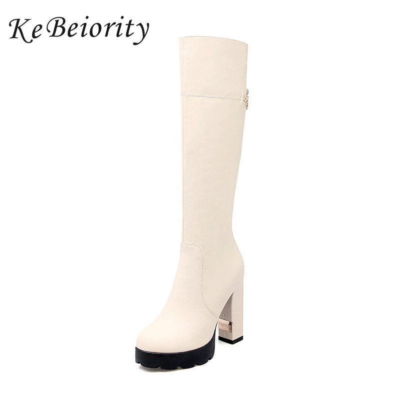 Фото KEBEIORITY New Women Boots 2018 High Heels Platform Tall Boots Sexy Autumn and Winter Black White Knee High Boots Shoes Woman