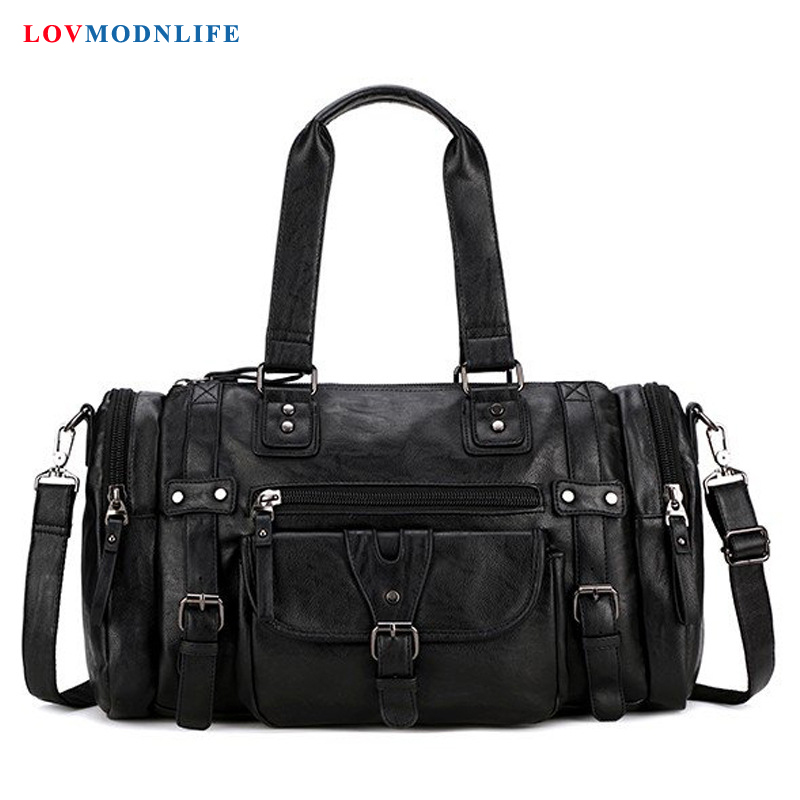 Fashion Leather Girls Duffle Bag Weekender Large Waterproof Big Travel Bags Hand Luggage For Men And Women Ladies Qvernight