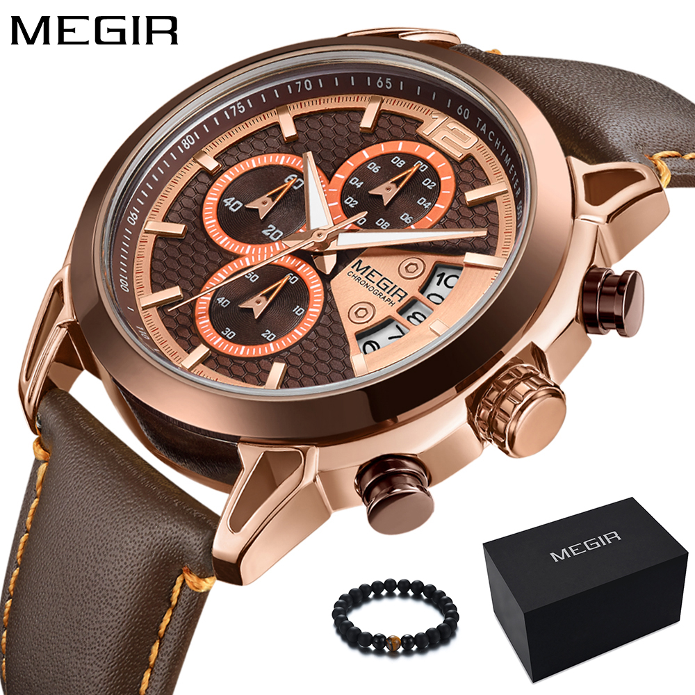 New Fashion MEGIR Men Watch 2018 Top Brand Luxury Quartz Military Sport Watch Waterproof Gold Leather Band Wrist Watch Men Clock 2016 military watch men stainless steel leather band analog quartz clock wrist watch fashion luxury top brand clock quality gift