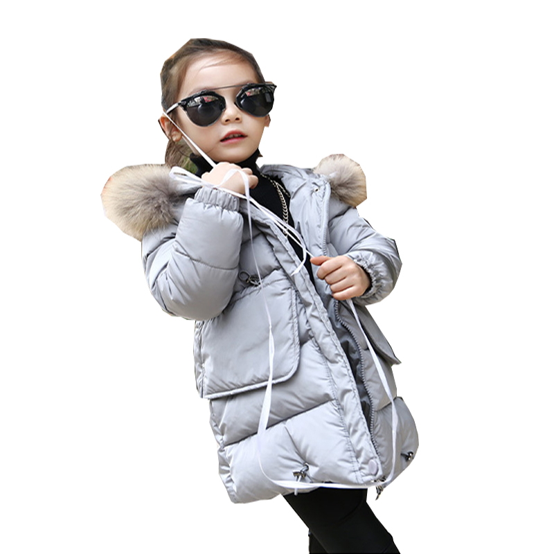 Girls winter thickening 2017 new down coat children girl kids clothes coats korean 3~8 year In the long section fashion birthday bringing in the new year