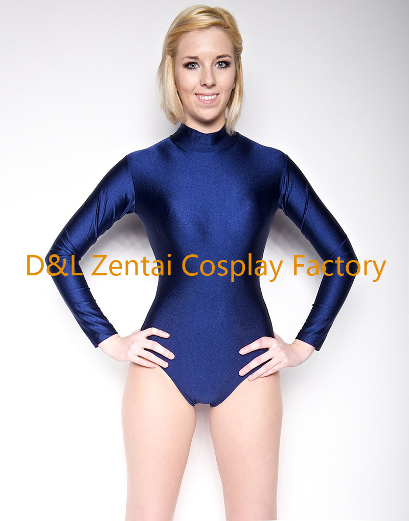 Free Shipping New Navy Blue Mock Neck Long Sleeve Leotard Zentai Tri Glide Wiring Diagram Second Skin Spandex Unitard Cosplay Bodysuits In From Novelty Special Use