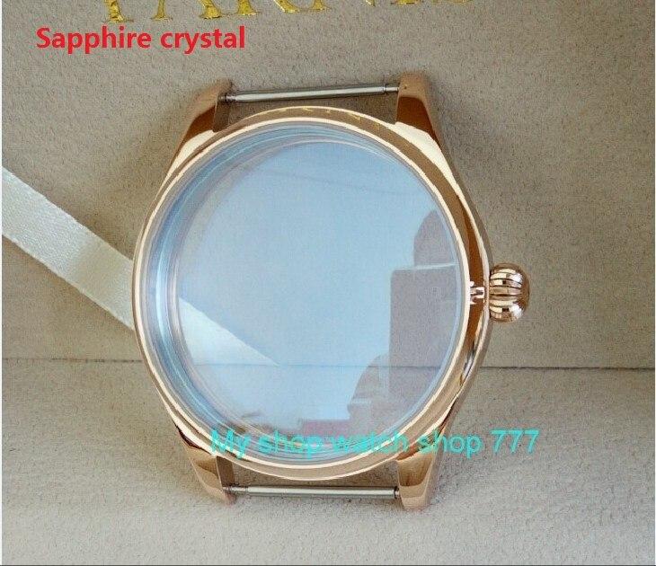 Saphir cristal PARNIS 44mm 316L boîtier de montre en acier inoxydable plaqué or rose 18 K fit ETA 6497/6498 mouvement 011A