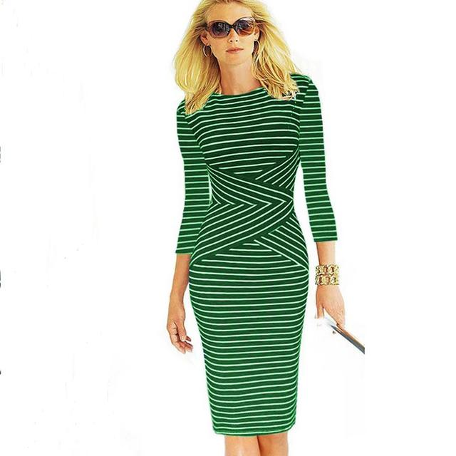 Womens Elegant New Colorblock Striped Dot Tunic Wear To Work Business  Casual Party Pencil Sheath Bodycon