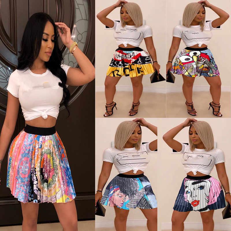 2019 mulheres novo verão letra dos desenhos animados do vintage impressão de cintura alta acima do joelho mini saias plissadas retro moda roupa saia Z022