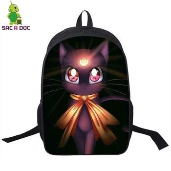 Anime Sailor Moon Luna Cat Backpack School Bags for Teenagers Women Men Travel Rucksack Anime Cosplay Backpack