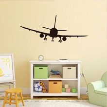 DCTOP Vinyl Removable Commercial Airliner Wall Decals Home Decor Airplane Silhouette Wall Stickers For Bedroom Home Decoration
