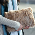 Luxury Real Rabbit Fur Bag Clutch Women Envelope Clutch Handbag Brand Designer Crocodile Fold Over Bag Crossbody Shoulder Bags