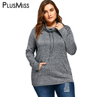PlusMiss Plus Size 5XL Casual Loose Turtleneck Top Tees Long Sleeve Drawstring T Shirt Women Clothing