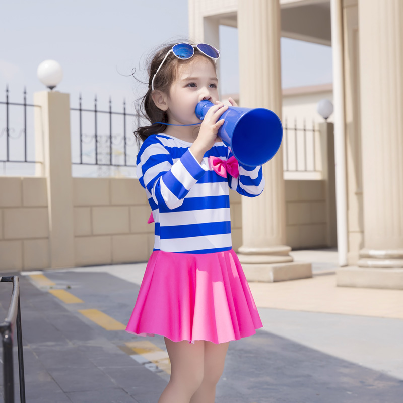 Striped little girls swimwear for kids Childrens blue beach cover up bathing suit one piece with swimming cap Long sleeves