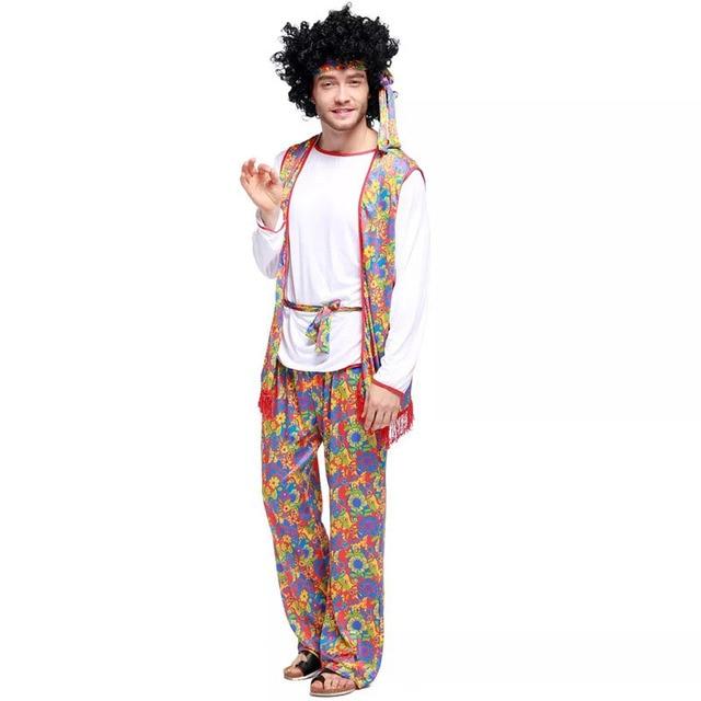 Adult Men 60s 70s Vintage Hippy Hippie Singer Costume Fancy Dress ...