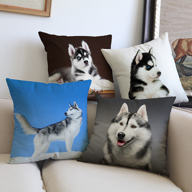 Cute Animal Pet Dog Siberian Husky Lovely Face Linen Pillow Case Household Pet Shop Car Sofa Chair Decoration Cushion Cover