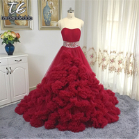 Luxury Princess Cloud Wedding dress Ruffled Tulle Red Ball Gown Beading Sash Bridal Dress 2017 vestidos de noiva mariage