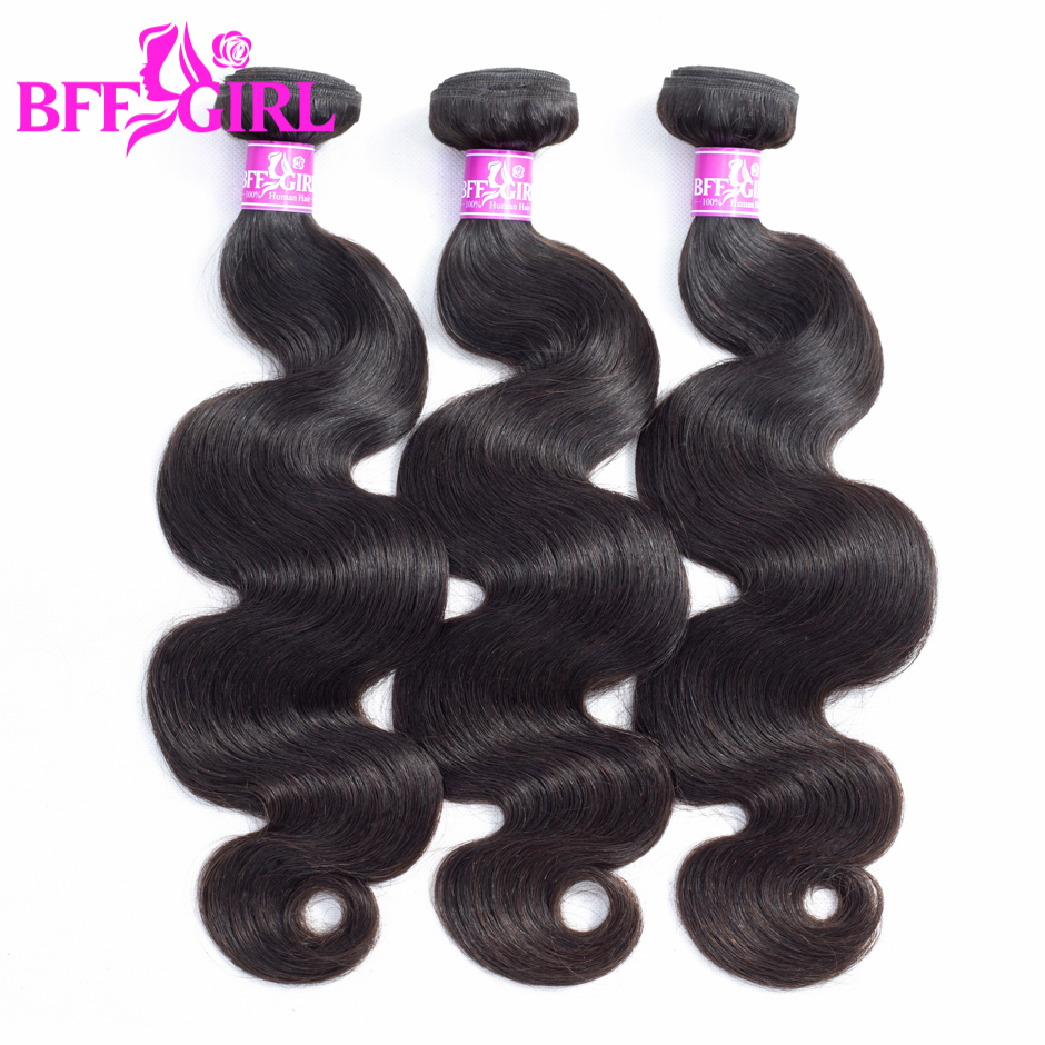 BFF GIRL Brazilian Body Wave Hair Bundles 100% Human Hair Weave 3 Bundles Natural Color Non Remy Hair Extensions Free Shipping
