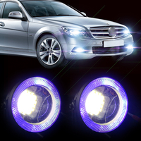CITALL 2pcs 2.5 10W White LED Projector Fog Lens DRL Driving Light with Blue LED Angel Eye Halo Ring For Ford BMW Honda VW Audi