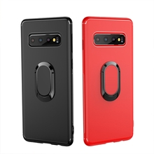 Metal Ring Stand Phone Case Cover With Magnetic Adsorption 360 Rotation Holder TPU for Samsung S10 E NOTE 9