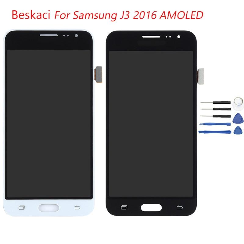 Beskaci J320F LCD AMOLED Pour Samsung Galaxy J320 J320F J320FN J320M J320H J3 2016 LCD Affichage à L'écran Tactile Digitizer Assemblée