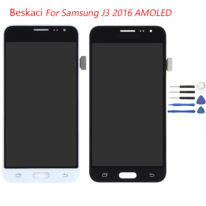 Beskaci J320F LCD AMOLED For Samsung Galaxy J320 J320F J320FN J320M J320H J3 2016 LCD Display Touch Screen Digitizer Assembly