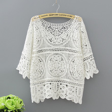 Hollow Out White Blouse Fashion 2017 Summer Crochet Lace Tops Women Transparent Casual Loose Sexy Blouses Womens Clothing 1809