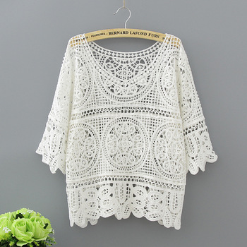 Hollow Out White Blouse Fashion 2020 Summer Crochet Lace Tops Women Transparent Casual Loose Sexy Blouses Womens Clothing 1809 цена 2017