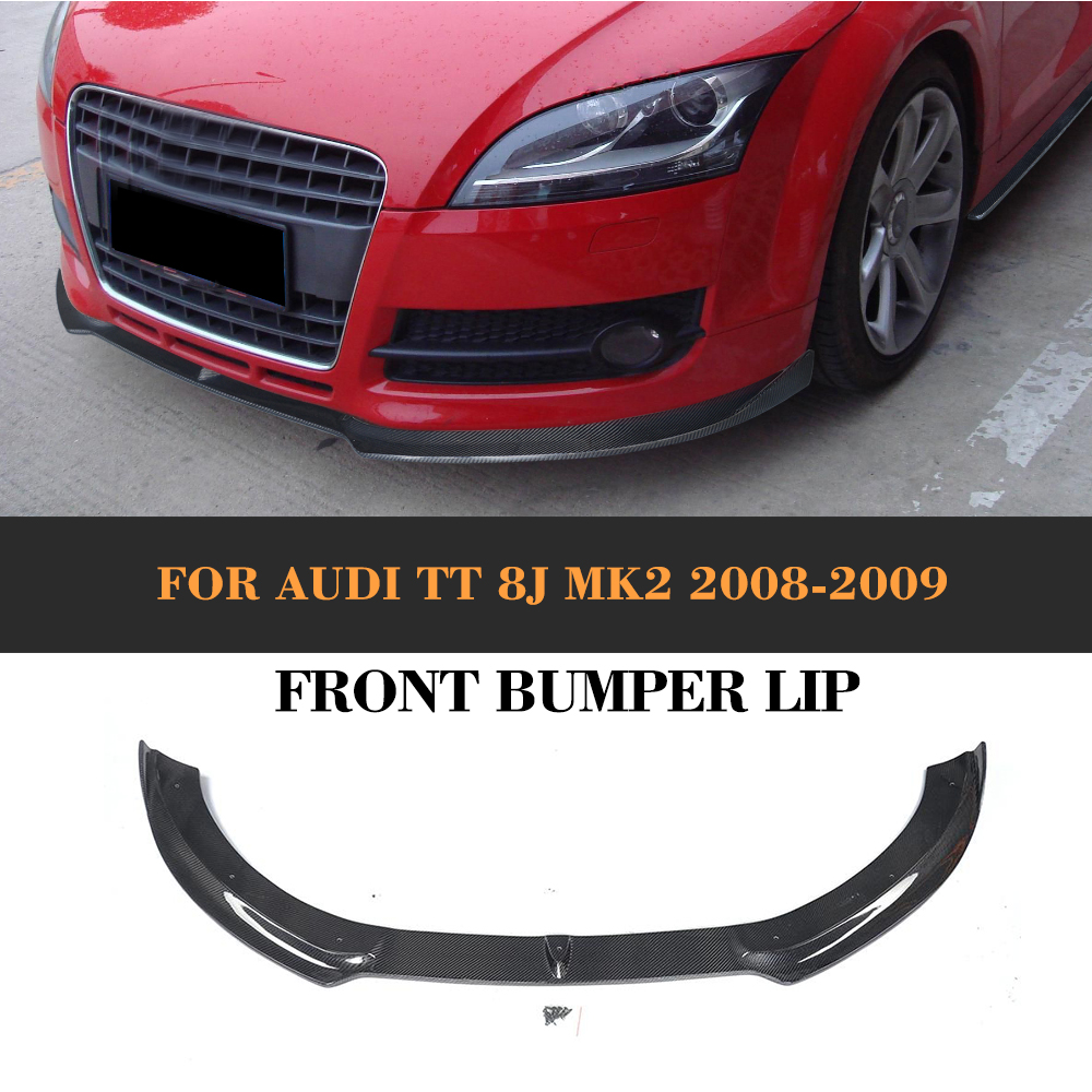Carbon Fiber Head Bumper guard Front Lip Spoiler for Audi TT 8J MK2 Convertible Coupe 2 Door 2008 2009 Car Tuning Parts