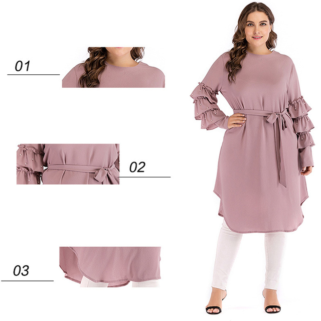 Plus Size Abaya Kimono Dubai Kaftan Women Long Beading Tutu Sleeve Muslim Hijab Dress Turkish Islamic Fashion Clothing 3