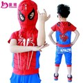 Лето детская одежда набор Футболка + брюки/брючный костюм мальчика детская одежда Человек-Паук моделей модели Бесплатная доставка