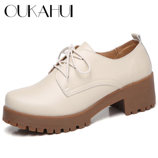 9a38eceab2 oukahui British style spring flat platform women shoes new mid Thick Heel  round toe leather oxford shoes for women flat platform